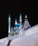 Russia. Tatarstan. Kazan Kremlin and mosque. Russia. Tatarstan. Kazan. Kazan Kremlin and Illuminated Kul Sharif mosque at night royalty free stock photography