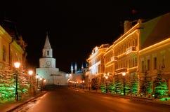 Russia. Tatarstan. Kazan Kremlin and mosque. Russia. Tatarstan. Kazan. Kazan Kremlin and Illuminated Kul Sharif mosque at night Stock Images