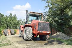 The Big tractor. Russia, Temryuk - 15 July 2015: Big tractor. Old Soviet agricultural machinery Stock Photo