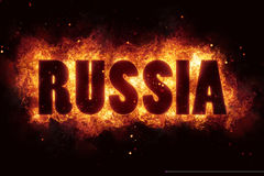 Russia text on fire flames explosion burning. Explode Royalty Free Stock Photo