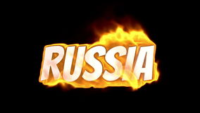 Russia. text on fire. word in fire. high turbulence. Text in flames. Fire word. Russia. text on fire. word in fire.high turbulence. Text in flames. Fire word stock video footage