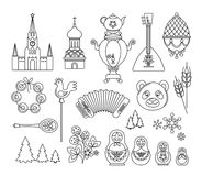Russia thin line icons. Vector collection Russian culture signs, logo Royalty Free Stock Photos