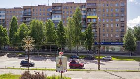 Russia timelapse of city auto traffic in summer stock video footage