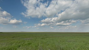 Russia, timelapse. The movement of clouds over the fields of winter wheat in early spring in the vast steppes of the Don. stock footage