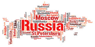 Russia top travel destinations word cloud Stock Images