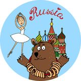 Russia tourism vector badge Royalty Free Stock Photos