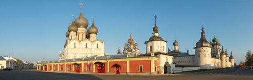 Russia Town of Rostov the Great. Kremlin. Panorama. Russia, Old town of Rostov the Great. Kremlin, temples and the market square. Panorama royalty free stock photography