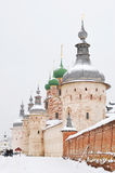 Russia. Town of Rostov the Great. Rostov Kremlin. Russia. Town of Rostov the Great. Perspective view of wall and towers of Rostov Kremlin at winter royalty free stock photography