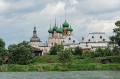 Russia. Town of Rostov the Great. Rostov Kremlin. Church of St John the Divine. View from Nero lake stock images