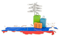 Russia travel concept. Suitcases with signpost on Russian map,   Stock Photos