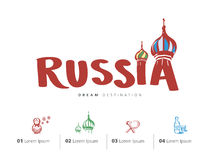 Russia travel set, Saint Basil's Cathedral, Moscow Stock Images