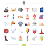Russia, travel, Spain, health and other web icon in cartoon style.pizza, plumbing, gynecology icons in set collection. Stock Photos
