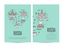 Russia travel tour booklet set in linear style Stock Image