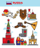 Russia travel tourist famous symbols or Soviet Union tourism attraction vector icons Royalty Free Stock Photos
