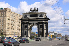 Russia. Triumphal Arch of Moscow. Triumphal Arch of Moscow. The current arch was built to Bove's original designs in 1966–68 in the middle of Kutuzovsky Avenue Stock Image