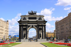 Russia. Triumphal Arch of Moscow. Triumphal Arch of Moscow. The current arch was built to Bove's original designs in 1966–68 in the middle of Kutuzovsky Avenue Royalty Free Stock Image
