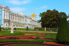 Russia, Tsarskoye Selo. The Catherine park and Catherine Palace with The Palace Chapel. Royalty Free Stock Photos