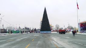 Russia, Tula, December 14, 2018, noon. Lenin square. Christmas decorations and entertainment. Christmas shopping arcade. Russia, Tula, December 14, 2018, noon stock footage