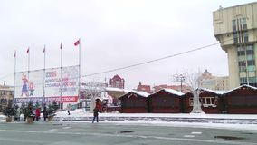 Russia, Tula, December 14, 2018, noon. Lenin square. Christmas decorations and entertainment. Christmas shopping arcade. Russia, Tula, December 14, 2018, noon stock video