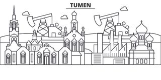 Russia, Tumen architecture line skyline illustration. Linear vector cityscape with famous landmarks, city sights, design. Icons. Editable strokes royalty free illustration