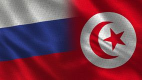 Russia and Tunisia - Two Flag Together - Fabric Texture. Realistic Flags stock photography
