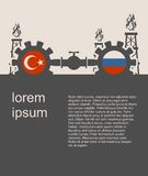 Russia and Turkey flags on gears. Image relative to gas transit from Russia to Turkey. Gears connected by gas pipe. National flags on cog wheels. Modern vector Royalty Free Stock Photography