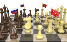 Russia and Turkey foreign policy strategy and power struggle Royalty Free Stock Image
