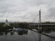 Russia. Tyumen.  The Tura river. The bridge of love.rs Royalty Free Stock Images