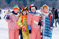 Russia, Udmurtia, Sharkan. February 18, 2018, Rowan women on Maslenitsa royalty free stock image