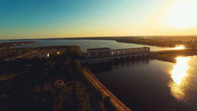 Russia , Uglich , river Volga, hydro electric station (Aerial Drone flights) stock video