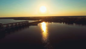 Russia , Uglich , river Volga, hydro electric station (Aerial Drone flights) stock video footage
