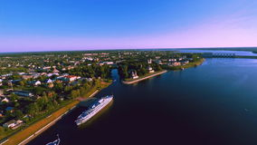 Russia , Uglich , river Volga, Yaroslavl Region, (Aerial Drone flights) stock video footage