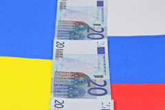 Russia and Ukraine. Border between Russia and Ukraine in the form of banknotes of Euro 20 Royalty Free Stock Photo