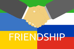 Russia and Ukraine crisis. Russia and Ukraine friendship and crisis. Russia and Ukraine flags and handshake in flat design Stock Images