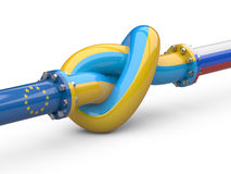 Russia - Ukraine - Europe  gas crisis concept. Pipeline tied in Stock Image