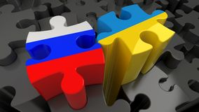 Russia and Ukraine flags on puzzle pieces. Political relationship concept. 3D rendering Stock Image