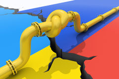 Russia-Ukraine gas crisis. Gas pipe  tied in a knot. Concept of energy crisis Royalty Free Stock Images