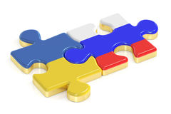 Russia and Ukraine puzzles from flags, 3D rendering Royalty Free Stock Image