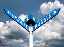 Russia-Ukraine road sign Stock Photo