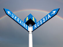 Russia-Ukraine road sign Stock Images