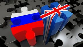 Russia and United Kingdom flags on puzzle pieces. Political relationship concept. 3D rendering Royalty Free Stock Photos