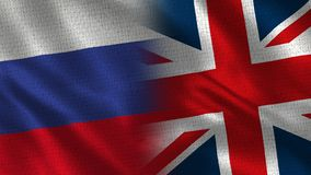 Russia and United Kingdom - Two Flag Together - Fabric Texture royalty free illustration