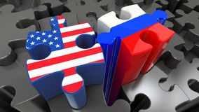 Russia and United States flags on puzzle pieces. Political relationship concept. 3D rendering Stock Images