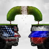 Russia United States Relations Problem. As Russian and American political crisis symbol as a degrading connected tree representing the failing diplomatic and Royalty Free Stock Image