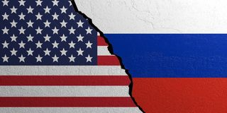 Russia and USA flag, plastered wall background. 3d illustration Royalty Free Stock Photos