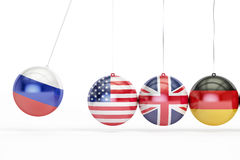 Russia, USA, Great Britain, Germany political war conflict conce. Pt. 3D rendering on white background Royalty Free Stock Photo