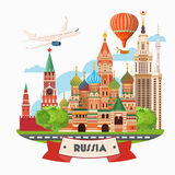 Russia vector banner. Russian poster with airplane. Travel concept. Stock Photo
