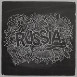 Russia Vector hand lettering and doodles elements Stock Photography