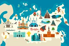 Russia vector map. Children colorful poster. Hand draw atlas with russian landmarks, symbols and animals royalty free illustration