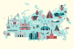 Russia vector map. Colorful atlas with russian landmarks vector illustration